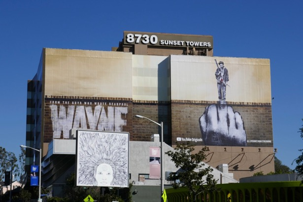 Wayne middle finger graffiti billboard