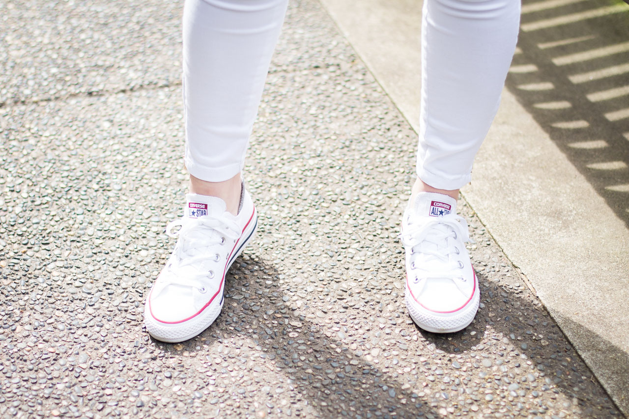 Spring outfit - Comme Des Garcons Play striped top - converse