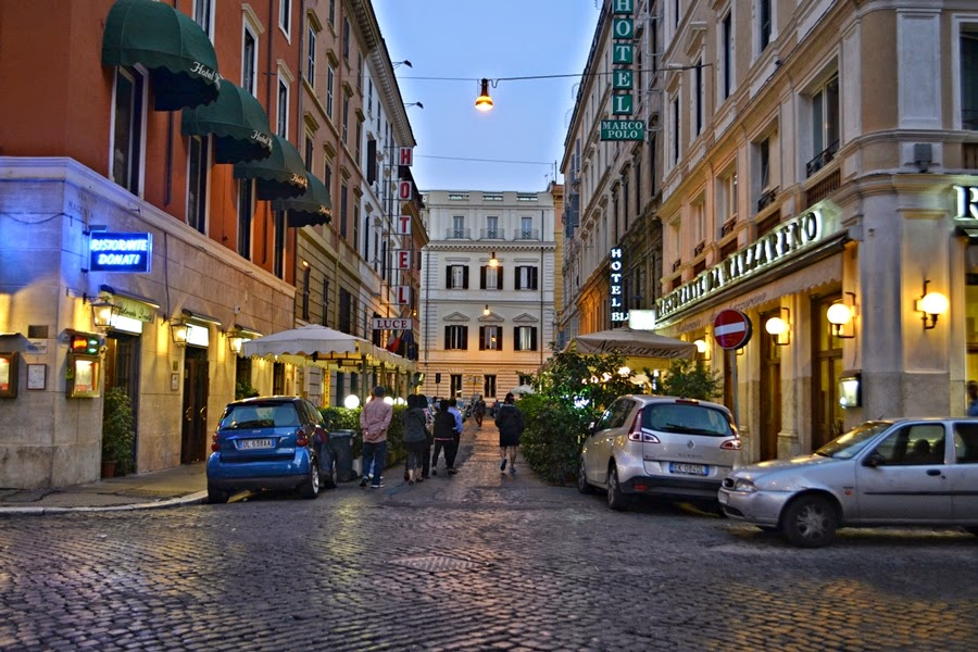 Streets of Rome in evening