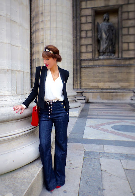 jean h&m sac petite mendigote flare blouse bash