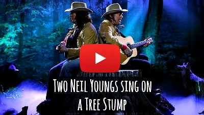 Watch Jimmy Fallon dressed up as Neil Young impersonate the legend as Neil Young joins him onstage to sing the song 'Two Neil Youngs on a Tree Stump' as the two Neil Youngs sit next to each other on a tree stump via geniushowto.blogspot.com celebrity music video