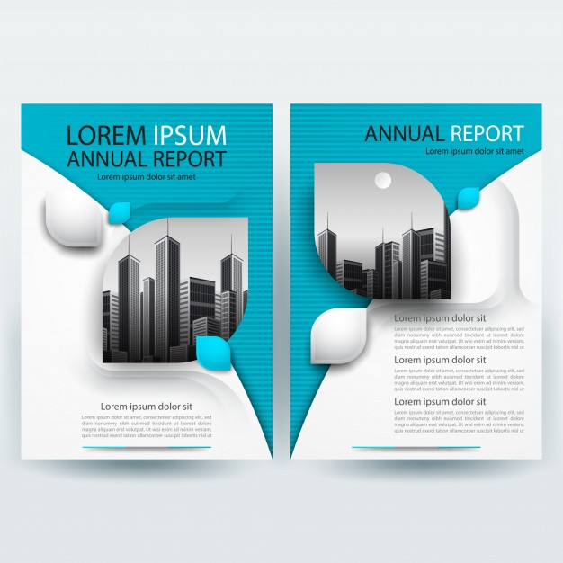 Business brochure template with teal geometric Free Vector