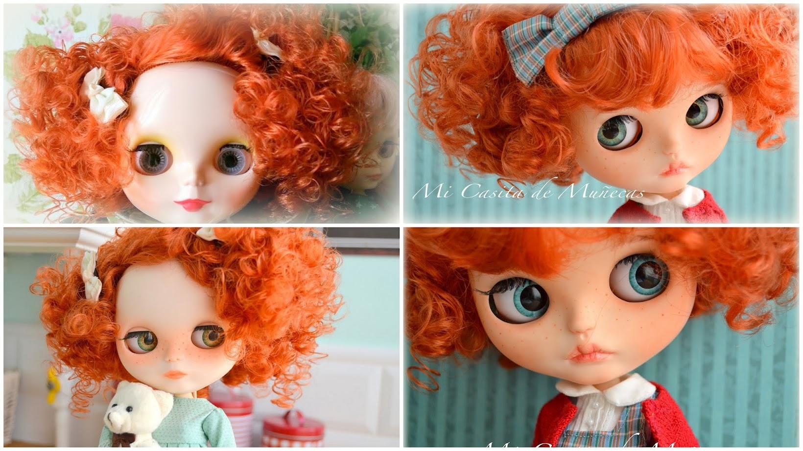 Blythe custom, blythe ooak, pullirings, eyes, scalp, carving, marta del pino, mi casita de muñecas