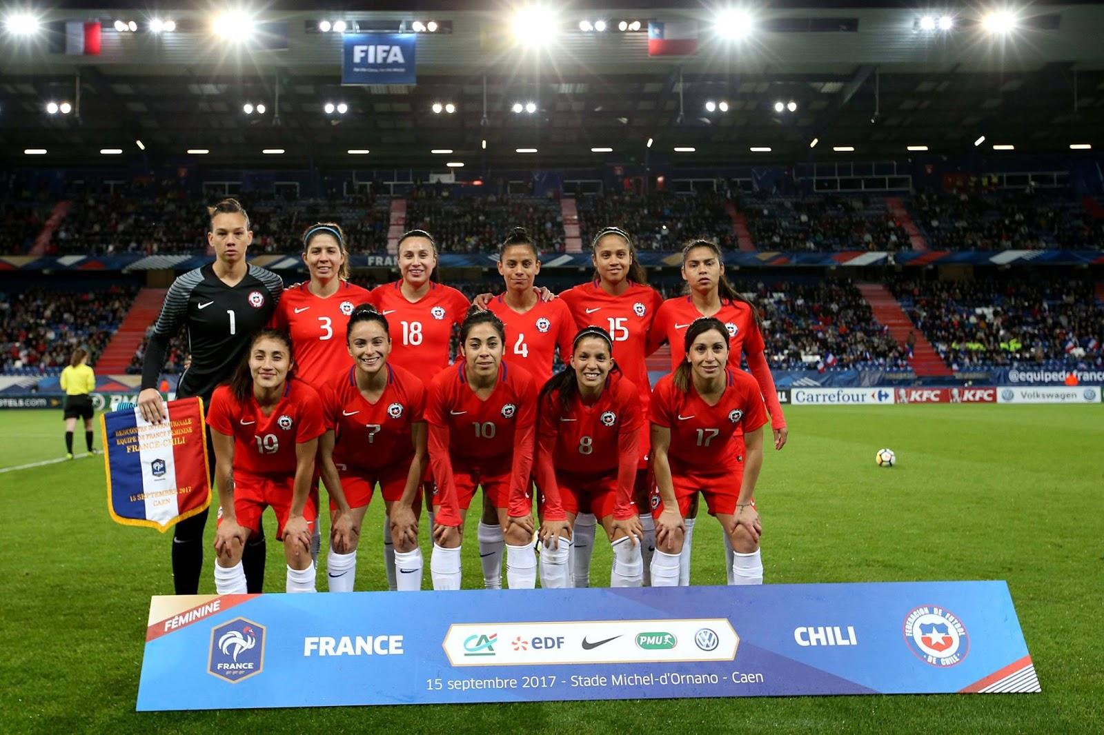 Formación de selección femenina de Chile ante Francia, amistoso disputado el 15 de septiembre de 2017