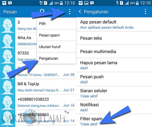 Mengaktifkan fitur filter spam untuk memblokir sms yang tidak diinginkan di android