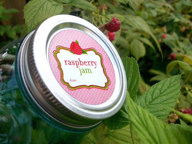 Cute Red Raspberry Jam canning labels