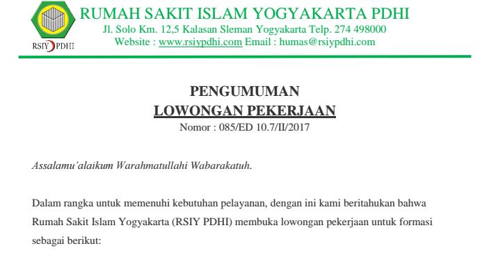 Lowongan Kerja Rumah Sakit Islam Yogyakarta Pdhi Rekrutmen Dan Lowongan Kerja Bulan Februari 2021