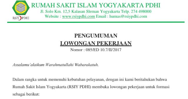 Lowongan Kerja Rumah Sakit Islam Yogyakarta PDHI