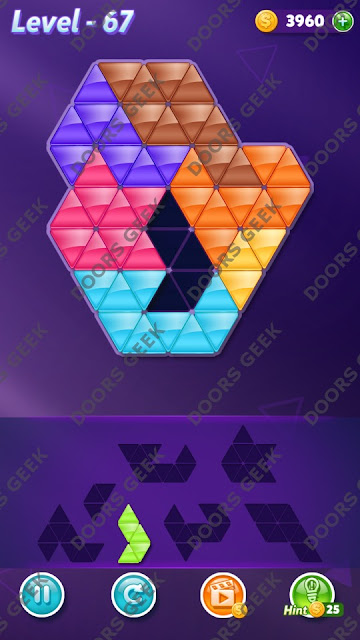 Block! Triangle Puzzle 7 Mania Level 67 Solution, Cheats, Walkthrough for Android, iPhone, iPad and iPod