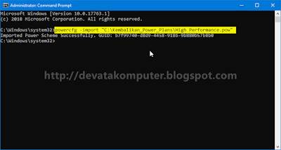 Kembalikan Power Plan dengan mengimport file pow