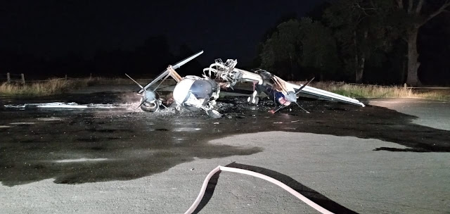 Fuego destruyó avioneta en Río Bueno