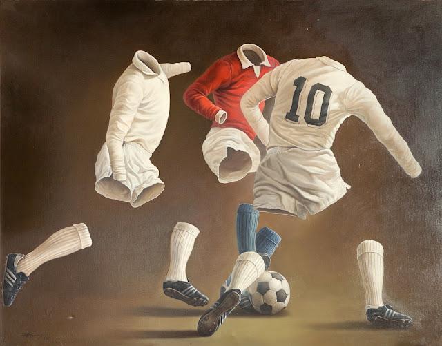 Alberto Pancorbo arte moderno hiperrealista surrealista jugando futbol camiseta