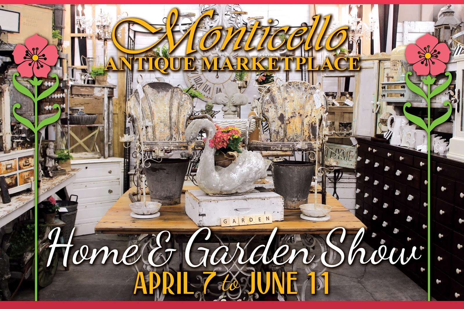 Monticello antique marketplace spring home garden show for Portland spring home and garden show 2017