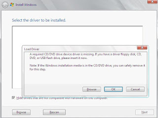 Cara Mengatasi install windows 7, 8 dan 10 gagal (load driver a required cd/dvd drive device driver is missing)