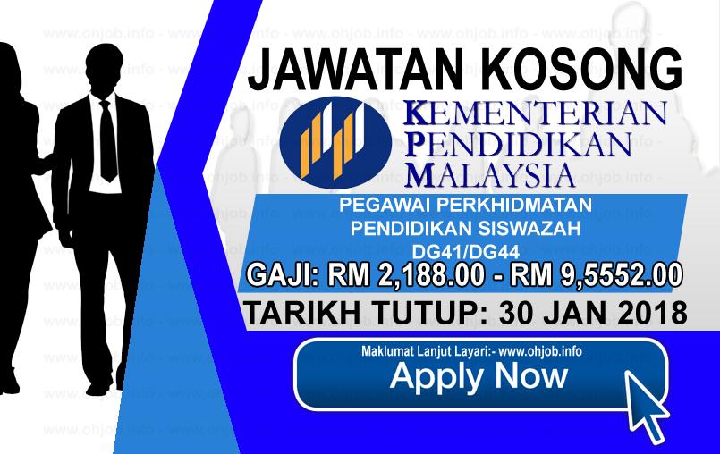 Jawatan Kerja Kosong Kementerian Pendidikan Malaysia - MOE logo www.ohjob.info januari 2018