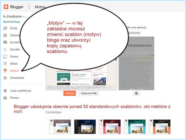 Wybór i edycja motywu (szablonu) na Bloggerze.