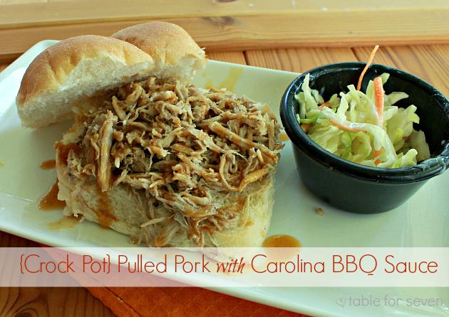 {Crock Pot} Pulled Pork with Carolina BBQ Sauce