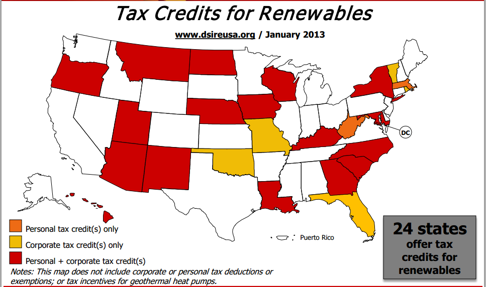 State tax credits for solar panels map from 2013