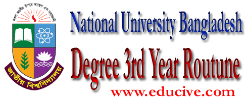 nu degree third year exam routine. bangladesh national university