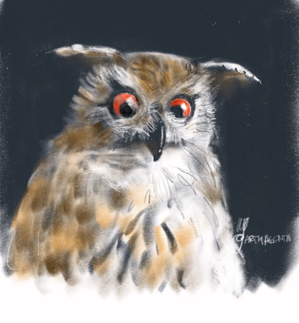 Eagle owl bird painting by Artmagenta