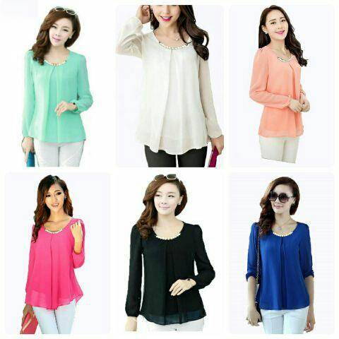 Jual Blouse Blouse Long Pearl - 12590