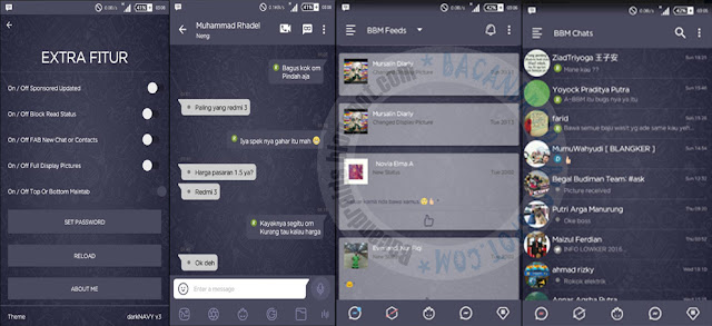 BBM Mod Dark Navy v3 Fix Base 3.0.1.25 Apk terbaru For Android Update