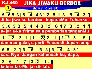 Lirik dan Not Kidung Jemaat 460 Jika Jiwaku Berdoa