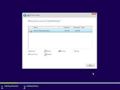 Memilih partisi yang akan di install Windows