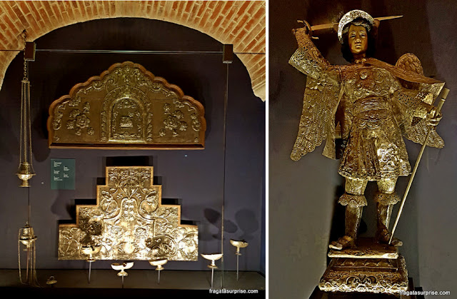 Peças sacras expostas no Museu da Prata, no Hotel Museu Casa Santo Domingo, em Antigua, Guatemala
