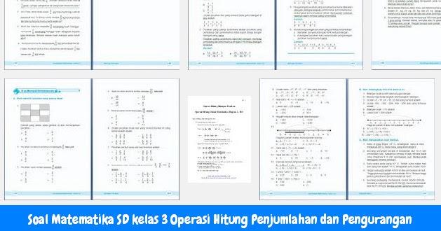 Soal Matematika SD kelas 3 Operasi Hitung Penjumlahan dan Pengurangan  Operator Sekolah