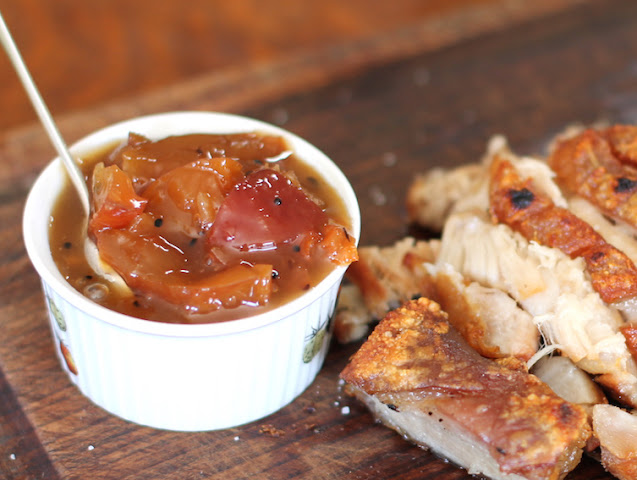 Food Lust People Love: Nectarine Kumquat Habanero Chutney has the perfect blend of sweet and sharp and spicy. The tart kumquats add an extra bite to the sweet nectarines and the heat of the habaneros complements the dried spices, giving this chutney a distinctly Indian flair.
