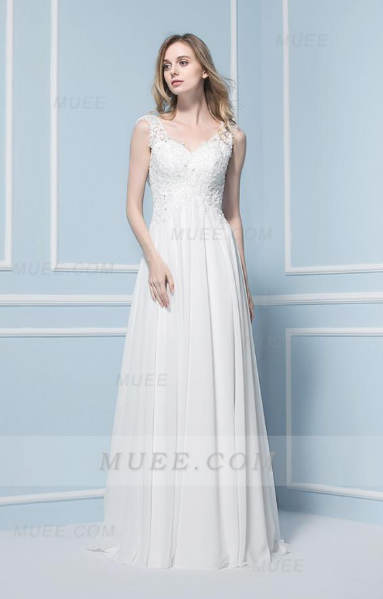 Chic Modern V Neck Lace A-Line/Princess Long Chiffon Wedding Dress