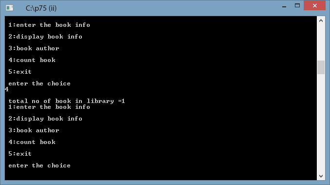 create a menu driven library management program using structure and