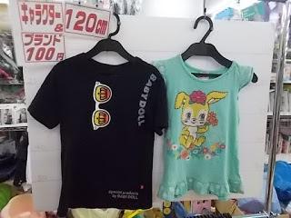 キャラクター&ブランド100円子供服、ベビードールTシャツとタンクトップ120㎝
