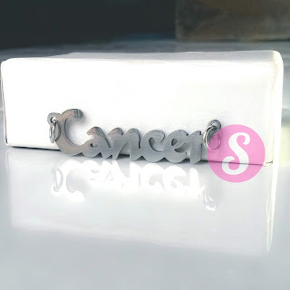 kalung nama zodiak monel silver polos -cancer