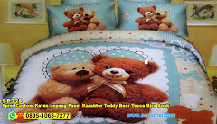 Sprei Custom Katun Jepang Panel Karakter Teddy Bear Tosca Biru Anak