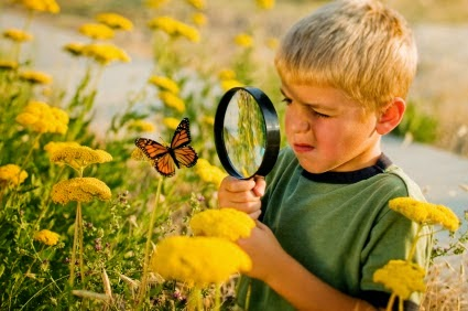NAMC montessori absorbent mind ch 17 imagination. boy with magnifying glass and butterfly