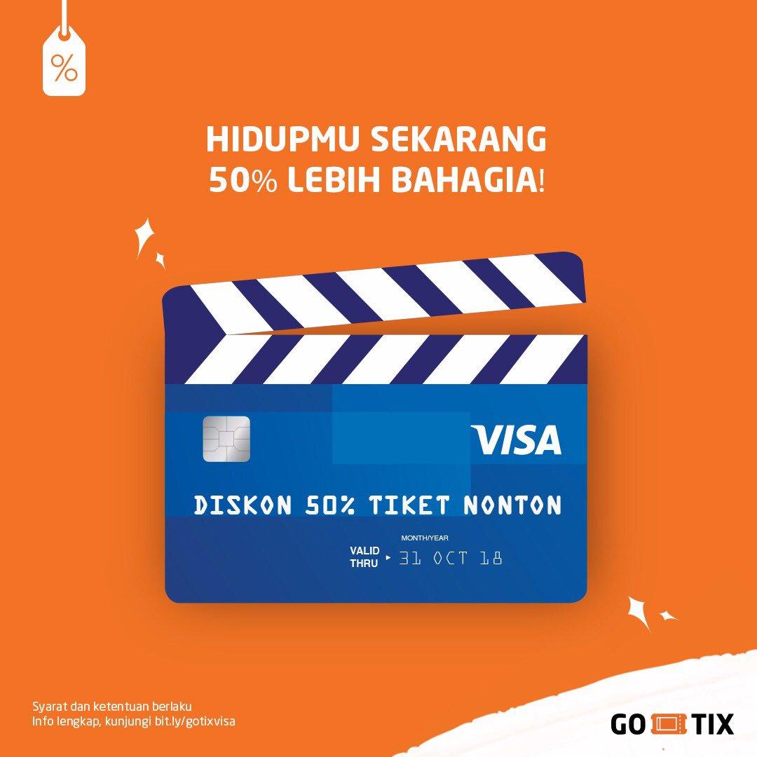 Gojek - Promo Diskon 50% Beli Tiket Bioskop Pakai VISA di GO-TIX (s.d 31 Okt 2018)
