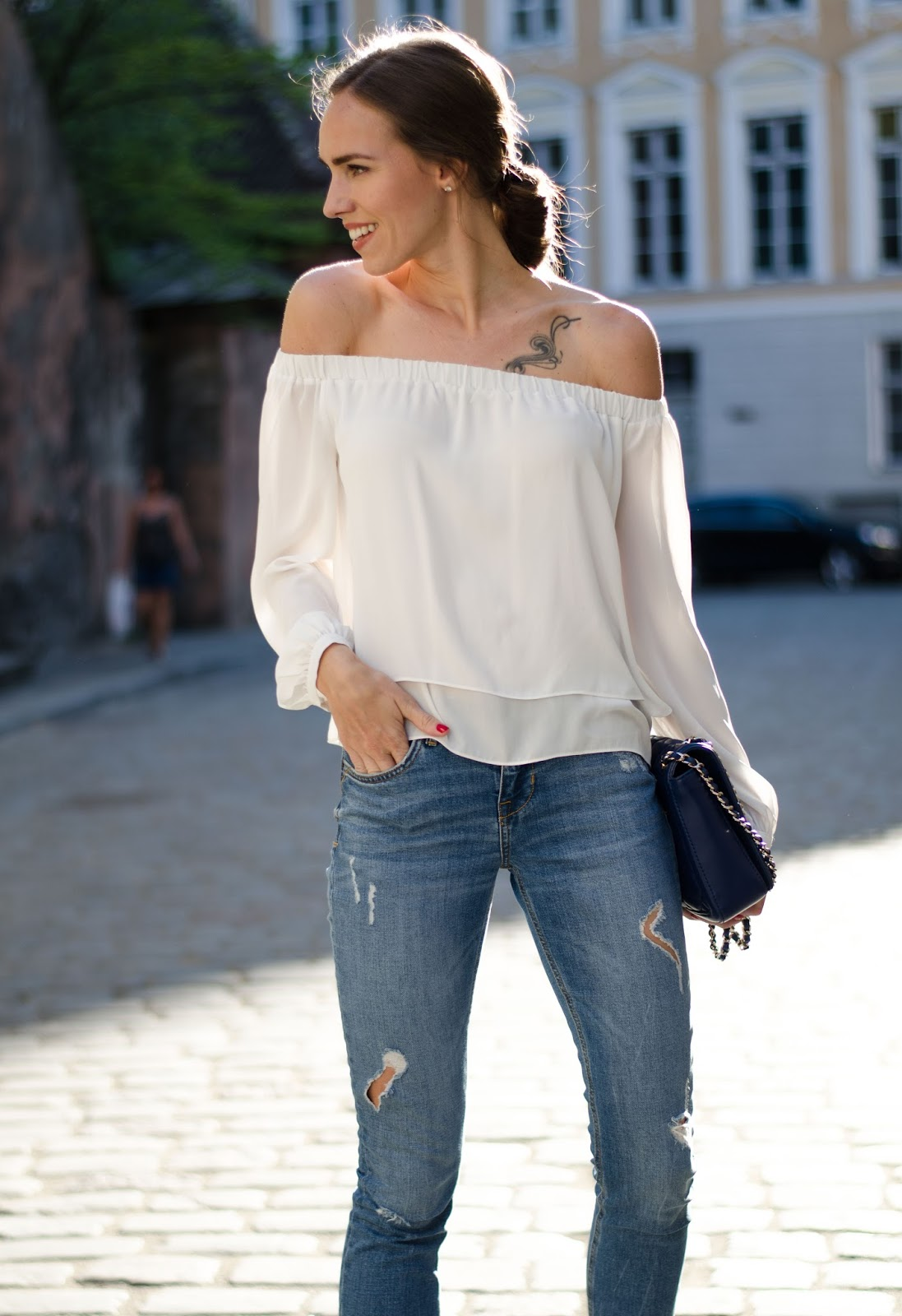 kristjaana mere asos white off shoulder top zara jeans