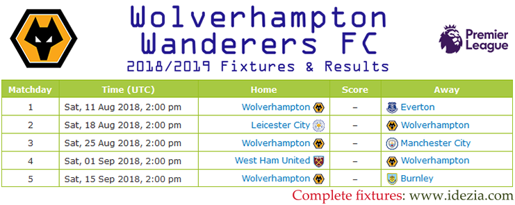 Download Full Fixtures PNG JPG Wolverhampton Wanderers 2018-2019