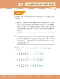 Respuestas Apoyo Primaria Desafíos Matemáticos 5to. Grado Bloque III Lección 37 Comparación de cantidades