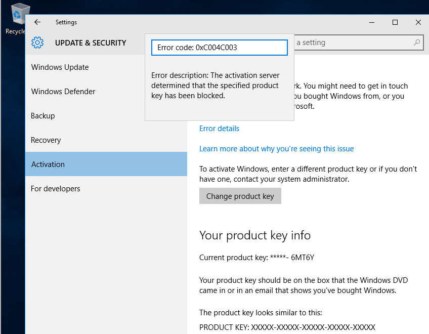Windows 10 key doesn