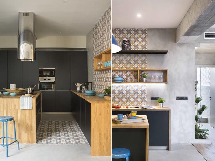 Cemento a vista a barcellona arredamento facile - Piastrelle geometriche cucina ...