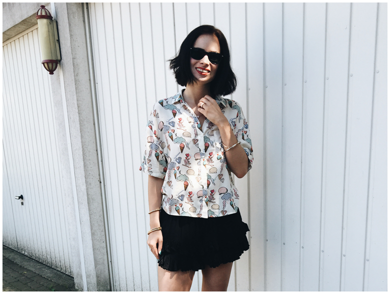 fashion, capsule wardrobe, summer outfit, vintage, zara blouse with ice cream print, h&m black culottes