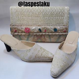 Tas Pesta dan SLop Pesta Handmade Matching Dgn Kebaya Putih Elegant