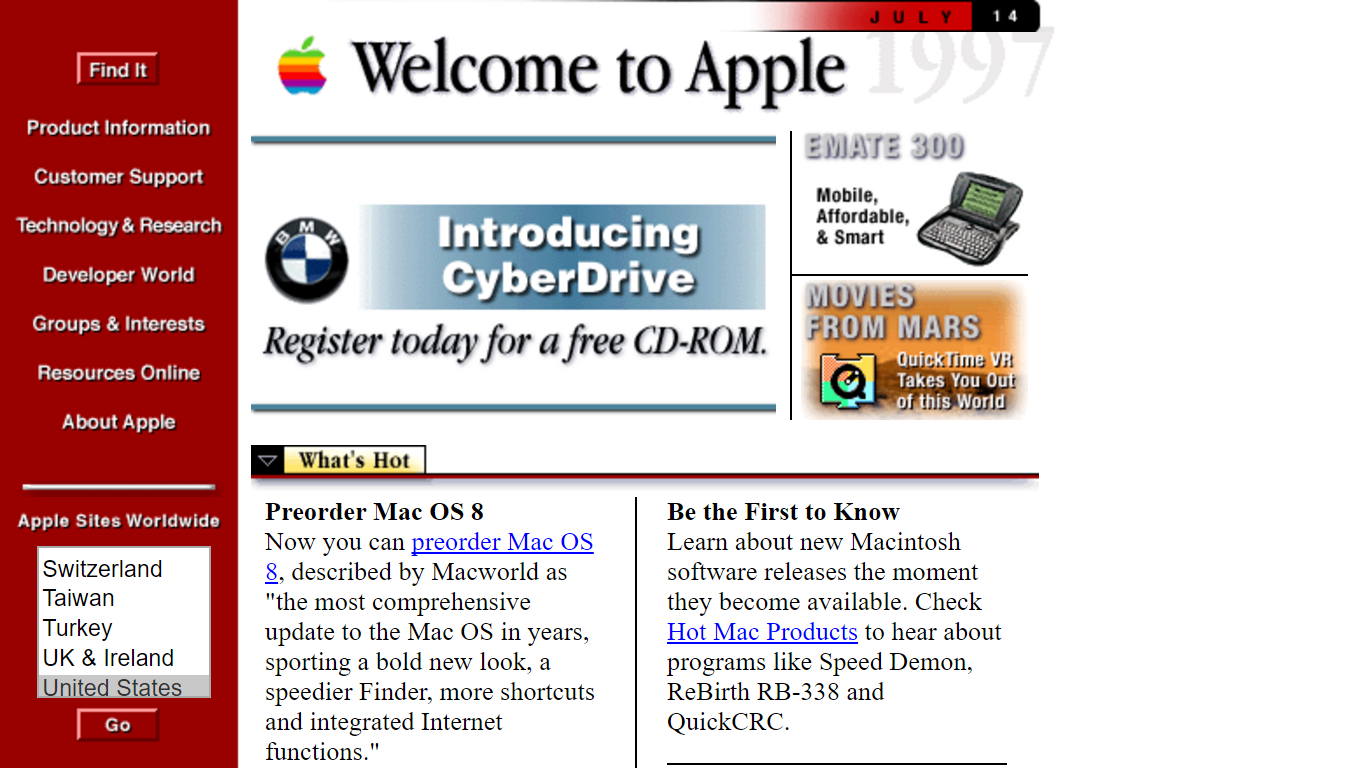 Image result for apple website 1997