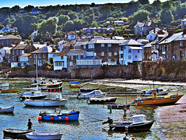 Cottages and houses at the harbour of Mousehole, Cornwall