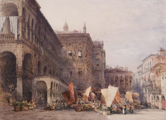 "Artwork, XIX century art, watercolours, ""Town hall and market place, Padua, early morning"" by William Callow, 1879."