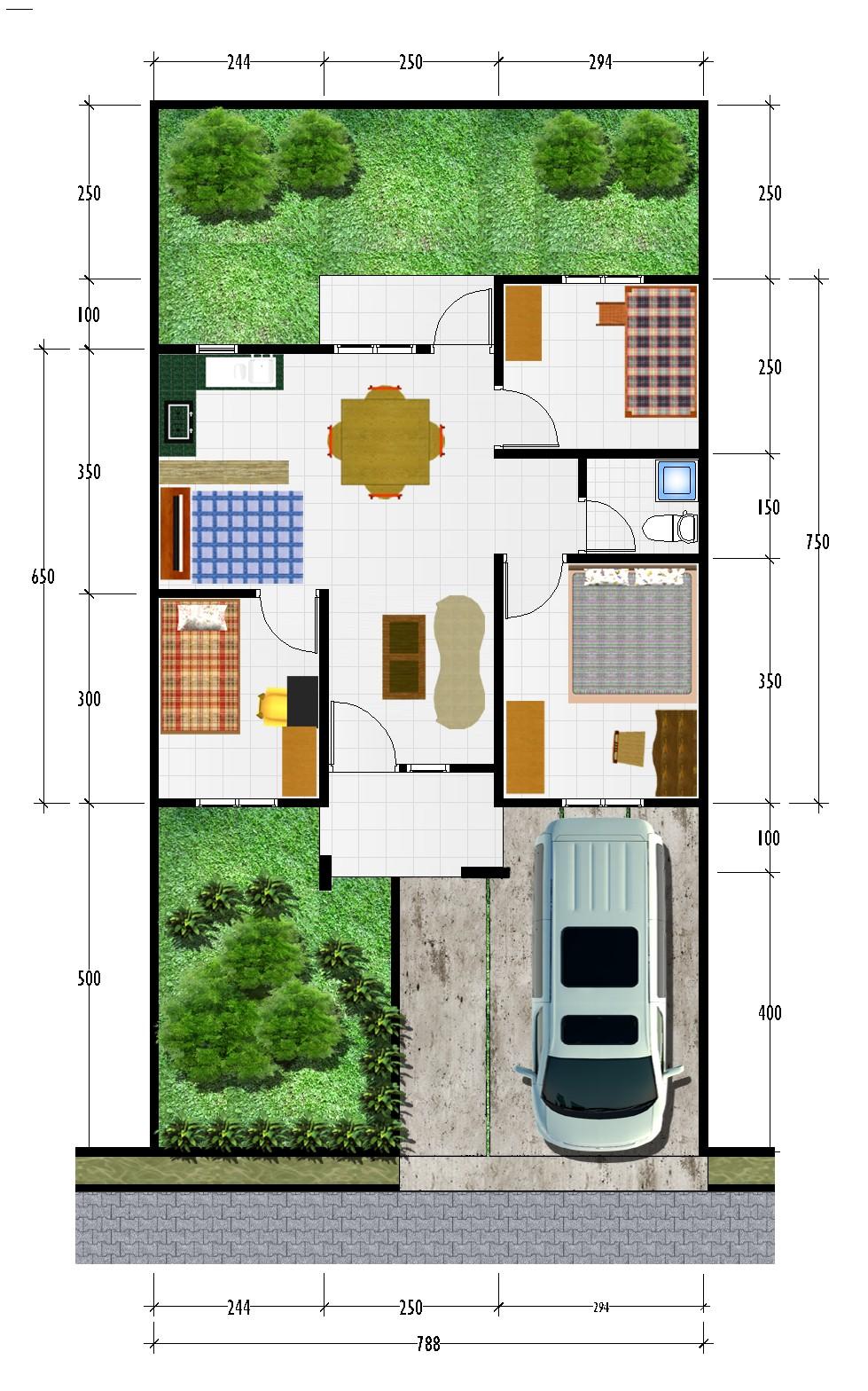 gambar denah rumah type 56 2