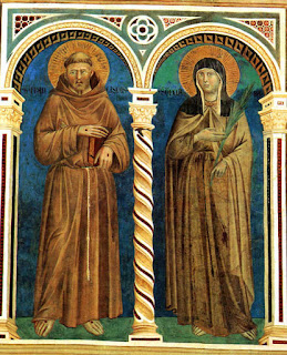 A fresco by Giotto showing  St Francis and St Clare